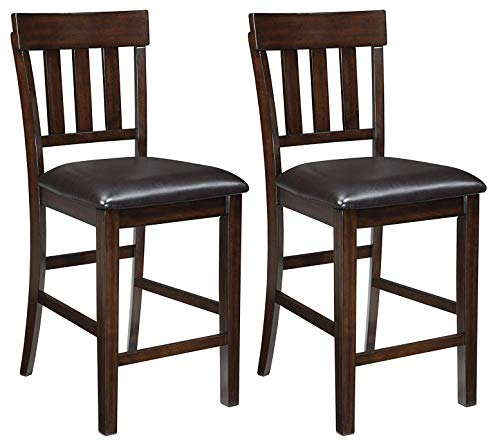 (Ashley Furniture Signature Design - Haddigan Counter Barstool - Set of 2 - Vinyl Upholstered Seat - Dark Brown Finish)