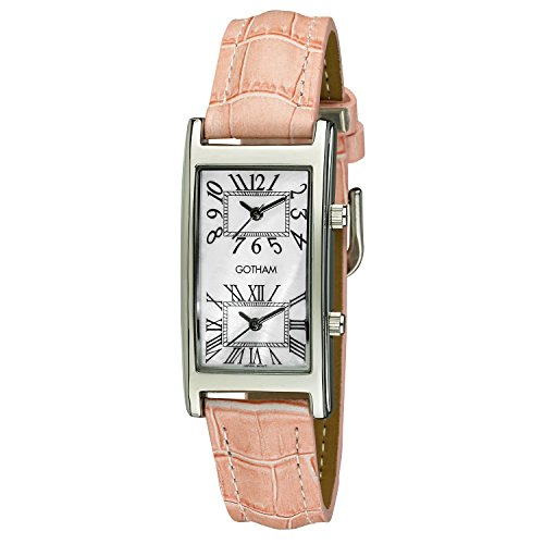 Gotham Woman's Silver-Tone Dual Time Pink Leather Strap Watch # GWC15090SP