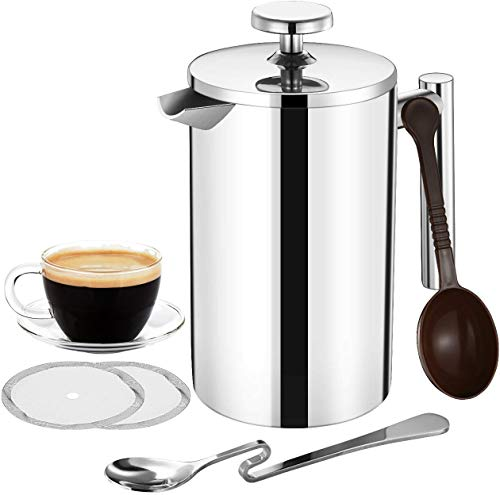 Topelek 500ml Cafetiere French Press Coffee Maker Stainless Steel Double Wall Tea Maker Measure Scoop 2 Filter Screen For Home And Office Buy Online In Belize At Desertcart