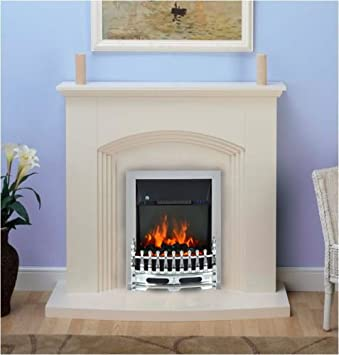 Shop Kirkdale Modern Cream Chrome Electric Fire Surround and Hearth Set Fireplace Suite. Free delivery on eligible orders of ?20 or more.