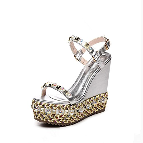BaiLing Womens summer sandals / Wedge Heel waterproof / thick bottom / Rivet small size shoes Silver zNPgem6