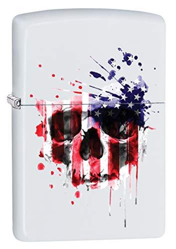 Zippo Lighter: American Flag Skull - White Matte 79911