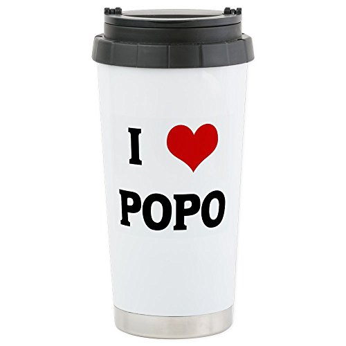 CafePress - I Love POPO Stainless Steel Travel Mug - Stainless Steel Travel Mug, Insulated 16 oz. Coffee - Seal Hearts Personalized Double