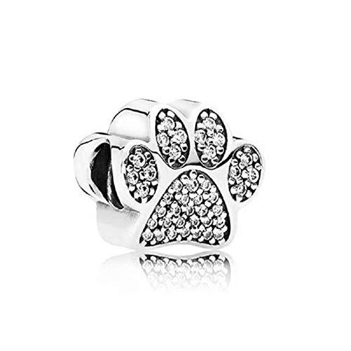 DH Love Fit Pandora Bracelet Charms Dog Paw Print Charm CZ Bead 925 Sterling Silver