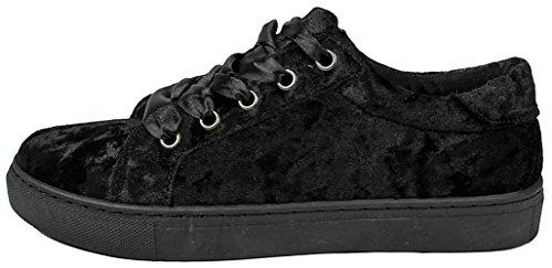 Platform Sole Velvet Up Fashion Teresa Black Sneakers Rubber 1 Suede Faux Women Lace Thick zv6YY