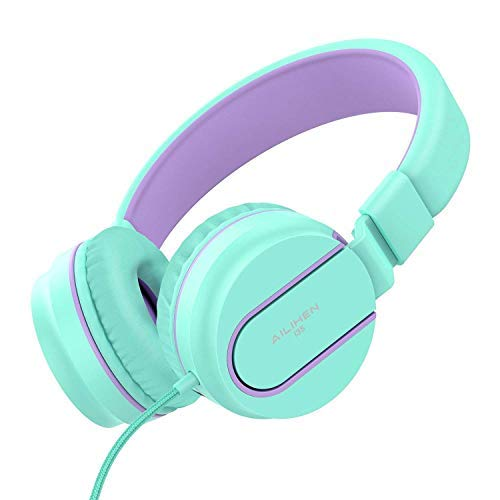AILIHEN I35 Kid Headphones with Microphone Volume Limited Childrens Girls Boys Teens Lightweight Foldable Portable Wired Headsets for School Airplane Travel Cellphones Tablets (Green)