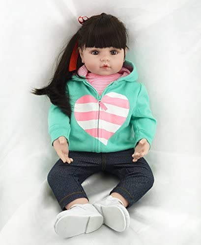 Realistic Reborn Toddler Girl Doll 18 Inch Reborn Doll Toddlers Soft Vinyl Silicone Doll Weighted Handmade