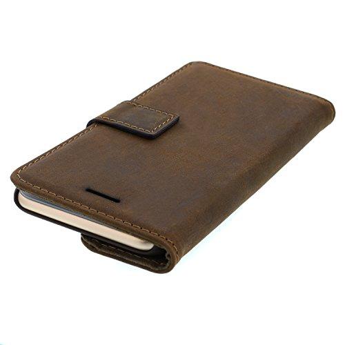 """Handy-Hülle Echtleder iPhone 6 /6s Farbe Vintage-Braun mit Einschub Smartphone-Case mit Standfunktion Cover ohne Magnet 4,7"""" Zoll Schutz-Hülle Leder"""