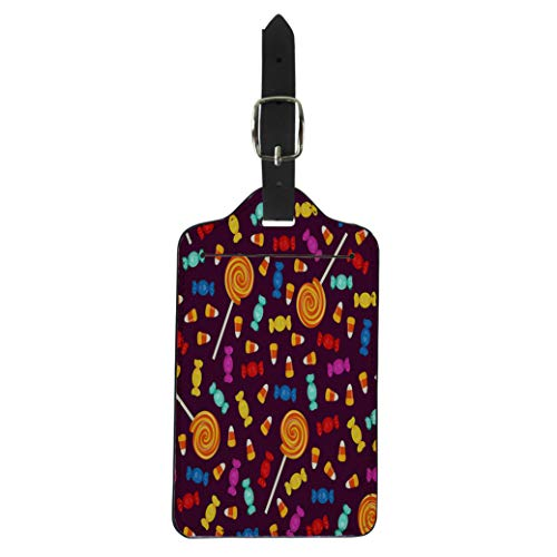 Pinbeam Luggage Tag Candy Halloween Small Sweets on Dark Holiday Trick Suitcase Baggage Label]()