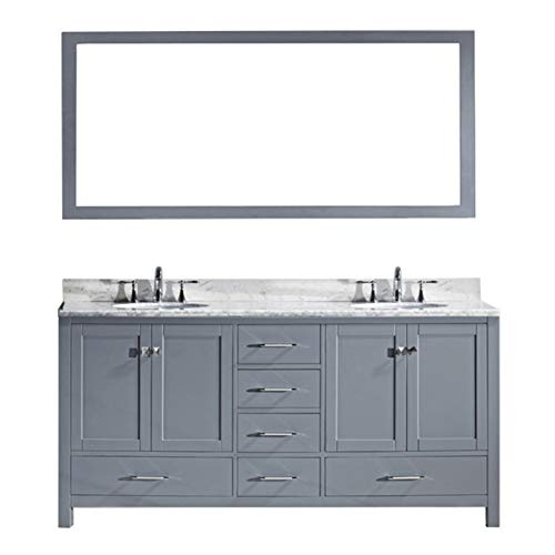 Virtu USA Caroline Avenue 72 inch Double Sink Bathroom Vanity Set in Grey w/Square Undermount Sink, Italian Carrara White Marble Countertop, No Faucet, 1 Mirror - GD-50072-WMSQ-GR