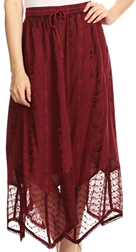 Sakkas 80241 - Emma Adjustable Handkerchief Eyelet Hem Casual Skirt With Embroidery - Burgundy - (Embroidered Eyelet Skirt)