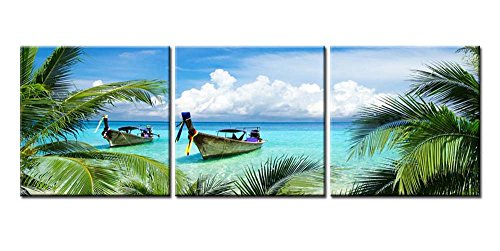 Framed Original Painting - Canvas Print Wall Art Painting For Home Decor Tropical Seascape Blue Sandy Beach Palm Trees Long Tail Boats Maya Bay Thailand 3 Pieces Panel Picture Modern Giclee Stretched Framed Artwork Photo Prints