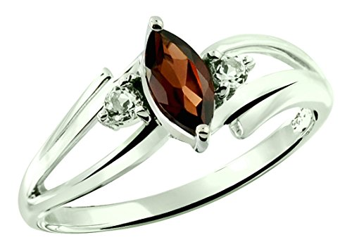 RB Gems Sterling Silver 925 Ring Genuine GEMS (London Blue Topaz, Garnet) 0.75 Ct Rhodium-Plated Finish (8, Garnet)