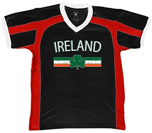 Emblem Ringer T-shirt - Ireland Flag and Country Emblem Men's Soccer Style Sport T-Shirt, Amdesco, Black/Red/White Small