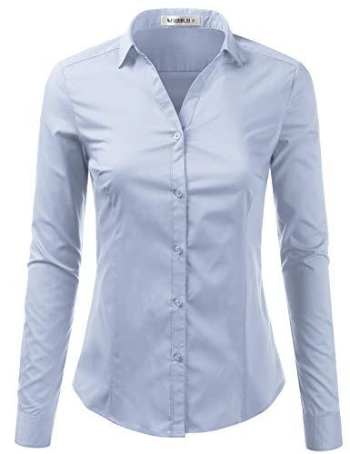 d786ab22 Doublju Womens Slim Fit Basic Solid Long Sleeve Button Down Shirt Aqua  X-Small