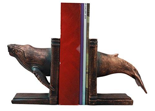 Ebros Nautical Coastal Marine Moby Dick Humpback Whale Bookends Set Statue 6.75