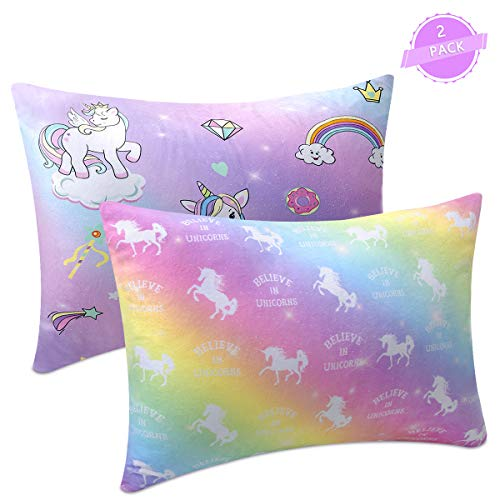 Sylfairy Kids Toddler Pillowcase 2 Pack 14 x 19 Fit for 13 x18, 12 x16 Pillow, Baby Girls Boys Child Infant Super Soft Unicorn Pillow ()