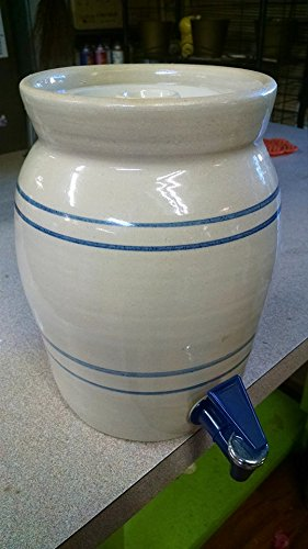 Vintage Marshall Pottery 2 Gallon Blue Stripe Tea / Water Crock with Spigot and Lid by Master Potter E J ()