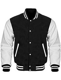 Design Custom Jackets Letterman Baseball Varsity Jacket White Leather Sleeves/Black