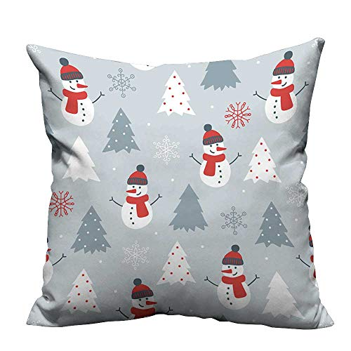 alsohome Throw Pillow Cover for Sofa Christmas Seamless Pattern with Snowman,fir Trees and Snowflakes Perfect for Wallpaper Textile Crafts 21.5x21.5 inch(Double-Sided - Patterns Craft Snowman Free