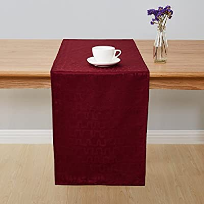Deconovo Jacquard Damask Table Runner Wrinkle and Water Resistant Spill-Proof Decorative Dining and Wedding Runners Bar Graph Print 14 x 72 inch Burgundy - Crafted of 100 percent imported high quality soft and smooth Jacquard Damask polyester fabric These table runners are available in 2 sizes of rectangular shapes (14 x 72 inches and 14 x 108 inches). Matching napkins and tablecloths are available This exclusive collection is designed with a wrinkle resistant, liquids and spill resistant fabric which creates convenience, makes cleaning easy and help protect your tables and furniture - table-runners, kitchen-dining-room-table-linens, kitchen-dining-room - 41gqwkw5sqL. SS400  -