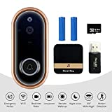 MOUNTDOG Video Doorbell Camera, 1080P HD WiFi Smart Doorbell with Ring Chime, PIR Motion Detection, Waterproof Night Vision, Real-Time Notification, with 16GB SD Card, Card Reader, Battery