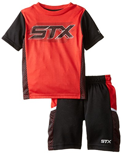 STX Toddler Boys' 2 Piece Performance Athletic T-Shirt and Short Set, Black/Red, (Black Red 2 Piece)