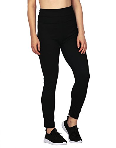 HDE Women's Maternity Yoga Pants Pregnancy Stretch Fold Over Lounge Leggings (Black, Large)