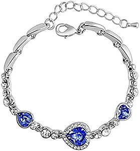 Heart of Ocean Blue Crystal Bracelet for Women Dark Blue