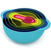 Joseph Joseph 40086 Nest 8 Juego de tazones para nidos con tazones para mezclar Tazas de medición Colador colador, 8 piezas, multicolor