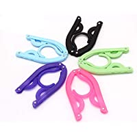 Set of 10 - Folding Clothes Hangers Portable Plastic Travel Hanger with Anti-slip Grooves