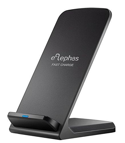 Wireless Schnellladegerät, ELEPHAS Drahtloses Induktive Schnellladestation Qi Kabellose Wireless Ladegerät für Samsung Galaxy S6 Edge Plus / S7 / S7 Edge und alle Qi Fähige Geräte, Schwarz