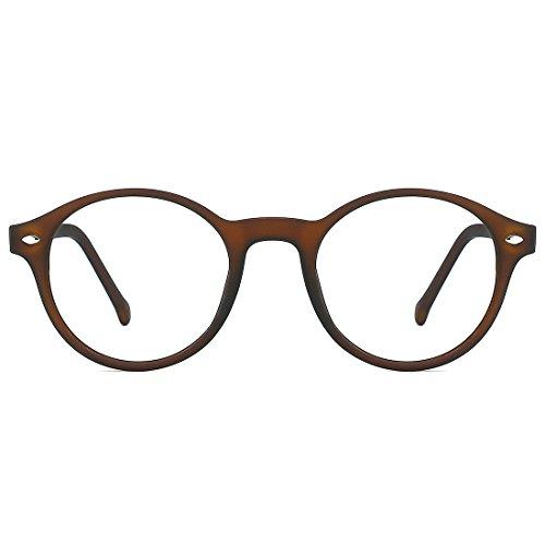 (TIJN Men Women Classic Round Non-prescription Glasses Frosted Eyeglasses Frames)