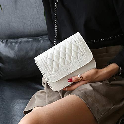 UltraZhyyne - PU Leather Women Messenger Bag Plaid Ladies Crossbody Bag Chain Trendy Candy Color Small Flap Shopping Handbag[Beige]