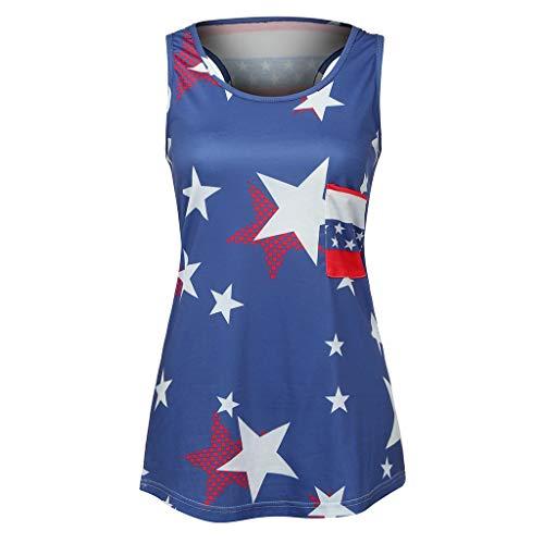 WILLBE Women's Sleeveless Top Striped Star Pattern Top Flag Vest Top Patriotic Stripes Star American Flag Print Tank Top Blue