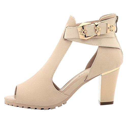 WUXING Christmas Women's Strappy Buckle Platform Fashion High Heels Sandals(7.5 B(M)US, beige)