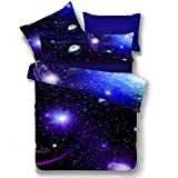 HOMIGOO Galaxy Printed Bedding Set Soft Comforter Cover 3D Printed Bed Sheet Set Twin Color G