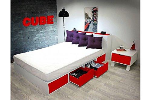 ABC MEUBLES - Bett 140 x 200 Boxen mit Schubladen - LITCUBLB - Rouge, 140x200