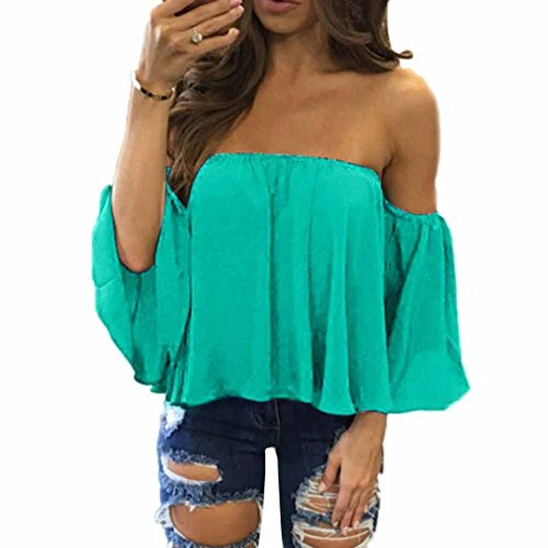 DaySeventh Women Fashion Pullover Tops Off Shoulder Casual Jeans Blouse (XS, Mint Green) from DaySeventh