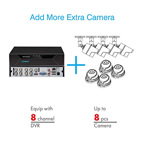 [TRUE 1080P] LONNKY 5-in-1 8CH FHD CCTV Camera System with 4x 2.0MP Outdoor Home Security Camera and 2TB Hard Drive…