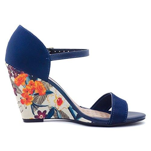 Feliciana, Beira Rio, compensé fleuri confort - Bleu