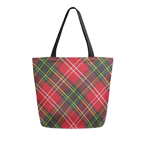 Reusable Grocery Shopping Bag Tartan Plaid Womens Canvas Tote Bags Foldable Shoulder Handbags