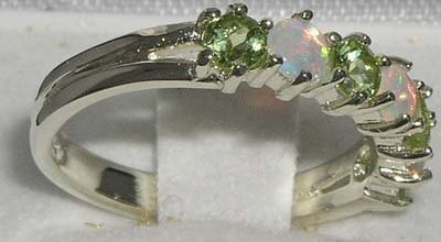 925 Sterling Silver Natural Opal & Peridot Womans Eternity Ring - Size 5 by LetsBuySilver (Image #3)