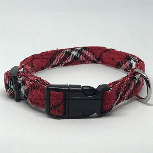 Plaid Dog Collars - 3 Boys Plaid, Red Plaid, Small 9-15 inches 1/2 wide