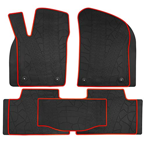 (biosp Compatible for Jeep Grand Cherokee 2017 2018 Heavy Duty Rubber Black Vehicle Carpet All Weather Guard Runner Front and Rear Floor Mats Liners Set)