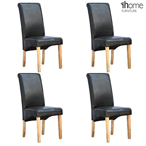 Fabulous 1Home Set Of 4 Faux Leather Dining Chairs Roll Top High Back With Solid Wooden Legs Oak Finish For Home Commercial Living Room Bedroom Kitchen Evergreenethics Interior Chair Design Evergreenethicsorg