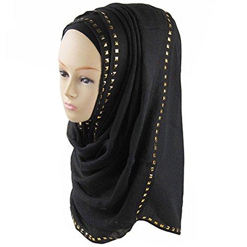 Shop Head Rivet (Polytree Women's Muslim Soft Headscarf Shawls Rivet Decor Islamic Hijab - Black)