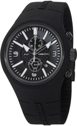 White Dial Black Silicone - Momo Design Mirage Black and White Dial Chronograph Black Silicone Mens Watch MD1009BK-61