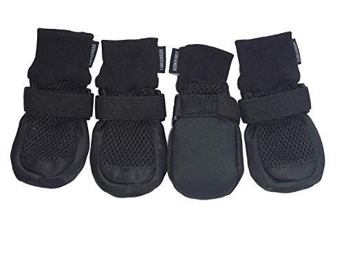 LONSUNEER Paw Protector Dog Boots Set of 4 Breathable and Protect Paws Soft Nonslip Soles Black Color Size Small (Boots Dog Rubber)