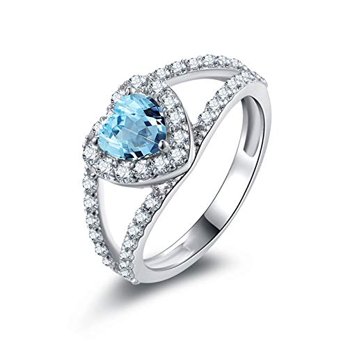 MoAndy Ring for Women Fashion Sterling Silver Rings 3 Prongs Heart Shape Blue Topaz Size 7